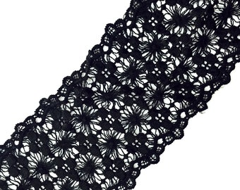 2 YARDS Black Lace Crochet Trim Ribbon for Crafts