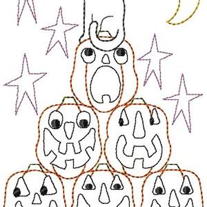 Stack of Jack O Lanterns Primitive Redwork Hallowen Sampler Machine Embroidery Design 5x7