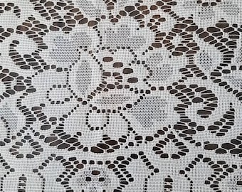 """90"""" X 42"""" Vintage Floral Lace Valance or Material"""