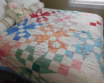 1940s Feed Sack ,Farm Quilt