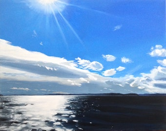 Acrylic landscape, acrylic painting, landscape, Sea painting, Sky painting, West Seattle, Puget Sound, Pacific Northwest, Cloud painting