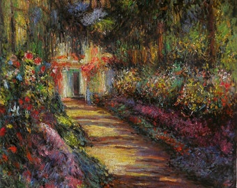 Pathway in Monet's Garden at Giverny-Claude Monet hand-painted oil painting reproduction,flower garden,living room wall art,office decor art