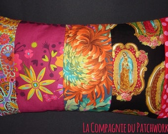 Patchwork pillow case in the colors blazing with Golden Madonna, 51 x 28 cm