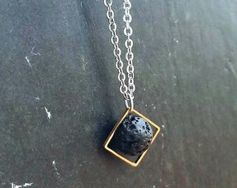 Diamond & Lava Essential Oil Necklace Diffuser --- Lava Rock Aromatherapy Jewelry pendant