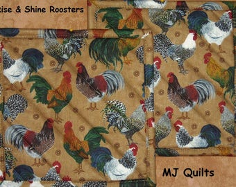 "Pick a Print-Set of 2 (8"") Handmade Hot Pads/Pot Holders-Rooster-Insulated Hot Pads/Pot Holders Made in USA-MJQuilts"