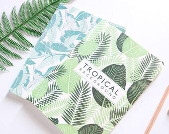 B5 Tropical Leaf Lined Notebook,Kawaii Stationery,Minimalist Notebook, Blank Notebook, Scenery, Travel, Planner Insert, Journal