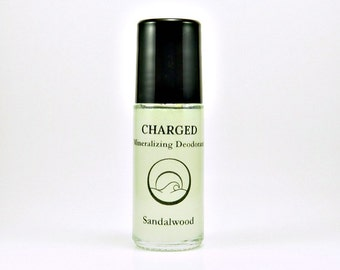 Charged-Sandalwood Deodorant, Natural Deodorant, Roll-On Deodorant, Mineral Deodorant, Aluminum Free Deodorant, Essential Oil Deodorant