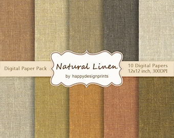 "Linen Burlap Canvas Fabric Textured Digital Paper Pack of 10, 300dpi, 12""x12""Instant Download Pattern Paper Scrapbooking, Invites, JPG"