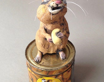 Chipmunk on Antique Nut Tin Mixed Media Sculpture - Chipmunk Cheeks