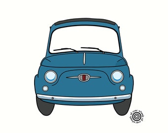 FIAT 500 T-SHIRT choice of colors. Vintage Fiat nuova 500. DTG printed. Original classic fiat art by WheelsAllOver