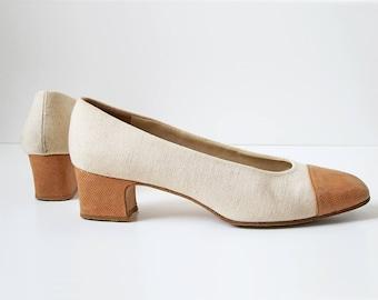 1980s vintage etienne aigner linen cognac leather cap toe short heel pump shoes 8