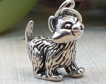 Kitten Charm, Kitty Charm, Cat Charm, Sterling Silver Cat Charm, Animal Lover Charm, Animal Charm, PS0664