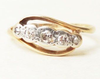 15% OFF SALE Antique Diamond Eternity Ring, 1900's Victorian Diamond, Platinum & 18k Gold Engagement Ring Approx Size 4.5 / 4.75