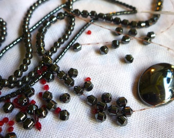 Hematite Beads De stash Lot Mixed shapes sizes non magnetic strands and one magnetic strand Jewelry Supply Craft Supply