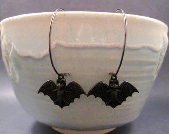 BAT Earrings, Halloween Fashion, Gunmetal Silver Hoop Earrings, FREE Shipping U.S.