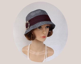 Great Gatsby cloche hat in two shades of grey, 1920s hat, flapper hat, grey cloche hat, Chaleston hat, Downton abbey hat, high tea hat
