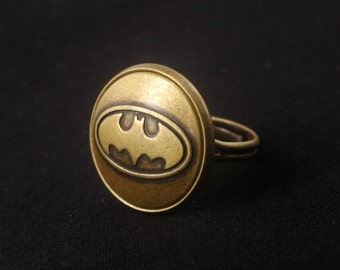 Batman Ring -Super Hero Ring -Adjustable Personalized Ring -Gift for Her