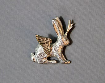 Winged Jackalope Sterling Silver Pin
