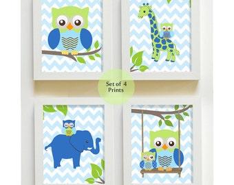 Blue Green Nursery Decor , Elephant and Owl Nursery Art Print , Baby Boy Nursery Art, Chevron Elephant Nursery Art - Set of Four
