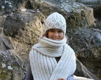 Scarf  & Cap hand knitting thick alpaca 2,5 m