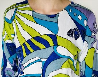 Vintage Clothing / Pop Art Blouse / Vintage Colorful 3/4 Sleeve Blouse / 90s Vintage Women's Shirt / Vintage Clothing /Pop Art Shirt