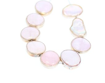 SILVER RIMMED MORGANITE Beads 9 Pcs NewWorldGems
