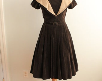 1950's Velvet Party Dress With Crepe Collar, Matching Belt