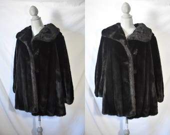 Vintage 60s Dark Brown Fur Coat Mod Coat Cozy Oversized Coat Formal Stroller Coat Long Winter Jacket Soft Evening Coat