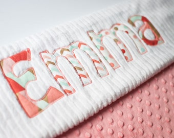 Monogrammed Baby Blanket in SPRING BROOK, Coral Dot Minky and White Chenille, Personalized with Your Baby Girl's First Name in Corals