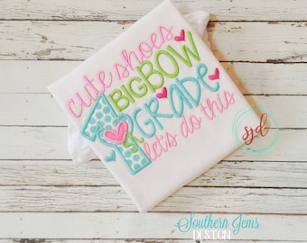 First Day of School, First Day of School Shirt, Back to School Shirt, School Shirt, Kindergarten, 1st Grade, Girl's Applique Shirt
