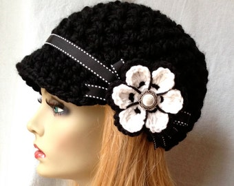 Crochet Womens Hat, Newsboy, White and Black, Very Soft Chunky, Flower, Ribbon, Warm, Teens, Winter, Ski Hat, JE808N11A