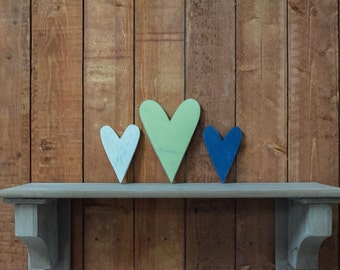 """Valentines Wooden Hearts - Shabby Chic Heart 8"""" - Cottage, wedding, home decor - wooden hanging hearts"""