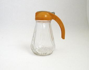 Vintage Syrup Dripcut Pourer With Golden Ochre Handle // Honey Dispenser // Antique Serving Kitchen