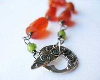 Carnelian Gemstone Bracelet, Sterling Clasp, Swirly Heart, Toggle Clasp, Wire Wrapped, Burnt Orange, Gemstone Jewelry