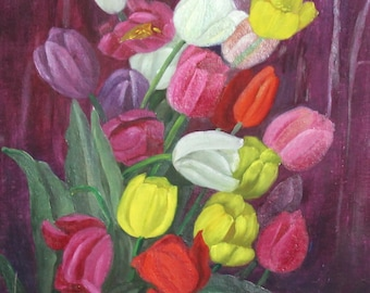 1968 oil painting floral still life tulips