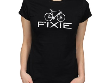 Bicycle T-Shirt, Gift for Cyclist, Cycling Shirt, Fixie Bike Print Top, Fixed Gear Bicycle Slogan Graphic Tee
