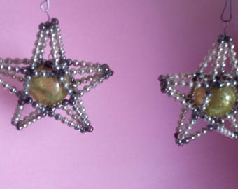 Vintage mercury glass star Christmas ornament, Czechoslovakia