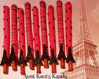 Paris Eiffel Tower Gourmet Chocolate Covered Pretzel Rods - Individually Wrapped
