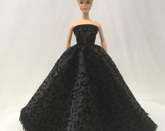 "Fashion Doll Dress-11.5"" Doll Clothes-Black Cheetah Doll Dress-Princess Dress-Doll Dress-Black Formal-Gifts for Girls-Girls Birthday Gifts"
