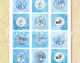 Congelados toppers Olaf Cupcake, descarga inmediata, congelados imprimibles, quiere construir un muñeco de nieve, círculo de 2 pulgadas, cumpleaños de congelados, Elsa, Anna