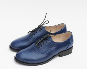 Leather Handmade Blue Oxfords Brogue Vintage-inspired Wedding Gifts Shoes Derby