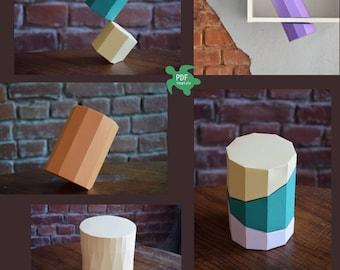 DIY papercraft cylinders, PDF pattern