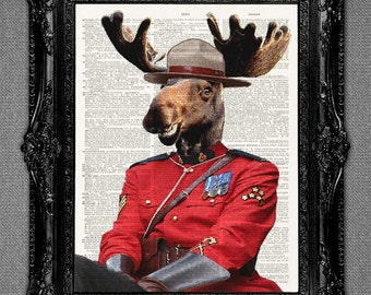 Moose dictionary Art Print Moose canadian mountie police - art print upcycled vintage dictionary page art print