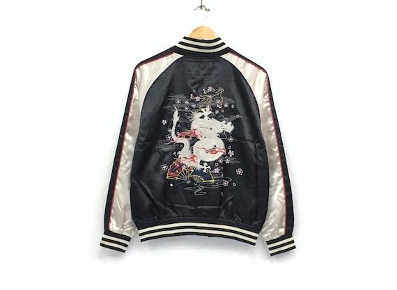 streetwe japanese Vintage japanese jacket dragon jacket yakuza fashion embroidery style 80's multicolor Sukajan white japanese logo souvenir rXaSrq