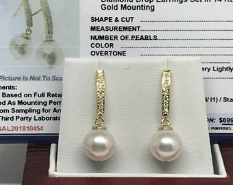 Certified 699 Diamond & Large Akoya Pearl 8.5 mm Appx 14Kt EarRings 10454 Yg