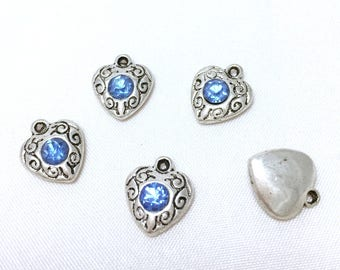 Set of 5 charms heart Love with vintage blue rhinestone - antique silver - 12 x 10 mm - jewelry making.