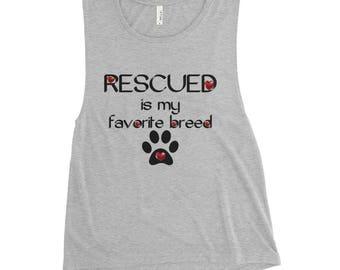 Rescued is My Favorite Breed Ladies' Flowy Tank