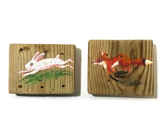 Woodland Fox and Rabbit Chase-Petit Painting-Reclaimed Wood-Personalize and Adopt This Original Art-Fox and Bunny OOAK Mangoseed