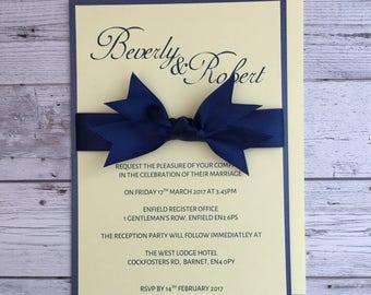 Handmade Satin Ribbon Wedding Invitation & RSVP Cards with envelopes