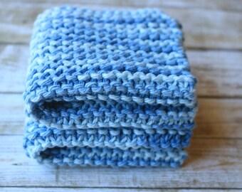 Blue Knit Dishcloth, Eco Friendly, Cotton Scrubbie, Blue Dishcloth, Blue Washcloth, Knit Dishcloth